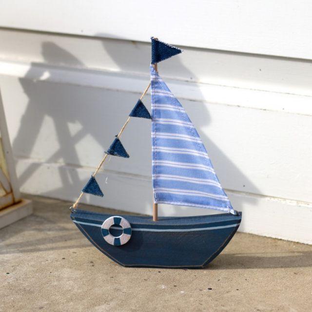 Zeilboot decoratief blauw 21x15cm P.6