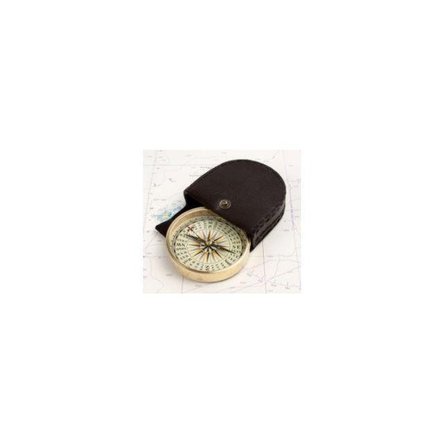 Kompas in leren houder ø7cm
