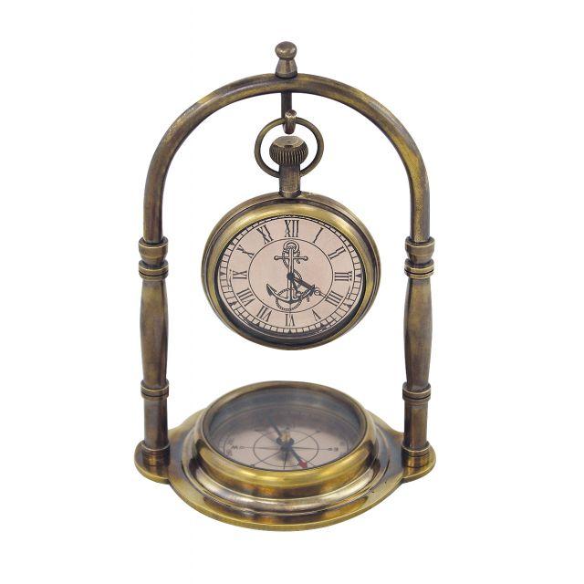 Kompas en klok, antiek messing, 9,5x14x7
