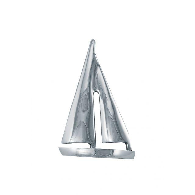 Zeilboot hoogglans nikkel H:15xL:10cm