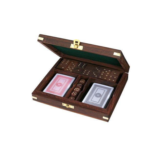 Houten kist kaarten,dobbelstenen,domino