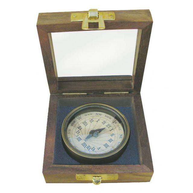Zonnewijzer kompas ø 5,5 cm in houten ki